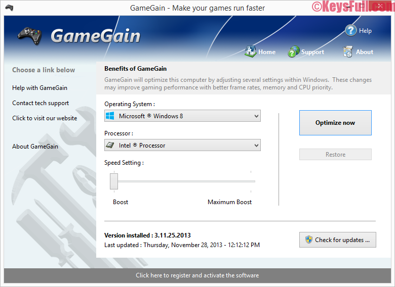 GameGain 4.8.1.2016 Serial Key + Crack Free Download