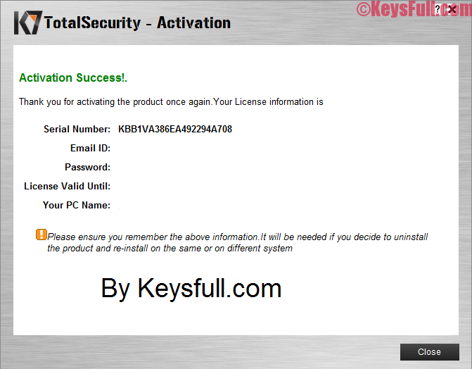 k7 total security activation key plus crack full free download