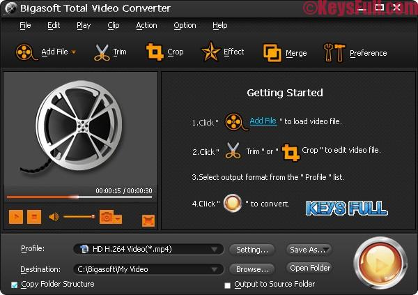 Bigasoft Total Video Converter 5.1.1 Crack + Keygen Download